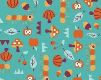 Festive Forest Fabric Camelot Cottons Allison Cole - Nature Trails in Turquoise - 1 yard - Designer Fabric Destash Aqua Teal Mushrooms