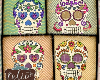 Sugar Skull, Collage Sheet, 4x4 Inch Images, Digital Coasters, Day of the Dead, Images for Coasters, Card Making, 4x4 Collage Sheet