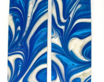 Blue & White Pearl Scales Knife Handles Gun Grips