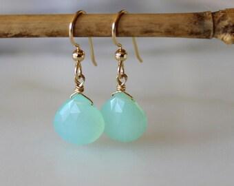 """Chalcedony """"Mint Drops"""" 14k Gold Filled Earrings - Gemstone Dangle & Drop Earrings - Shower for Her - Gifts for Her - Chalcedony Earrings"""