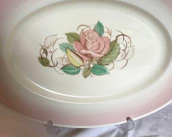 Susie Cooper Crown Works Platter - Art Deco Susie Cooper Patricia Pink Rose Platter in Romance Pink.