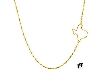 14k Side Texas Necklace solid 14k gold Choose any sideways state handmade pendant