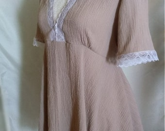 Taupe Boho Blouse with Lace Trim