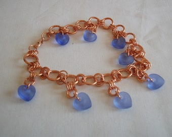 Chain maille bracelet with crystal heart charms