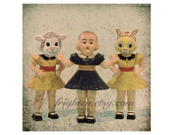 Doll Photography, 8x8 Inch Print, Creepy Cute Vintage Hard Plastic Dolls with Masks, Weird Wall Art, frighten