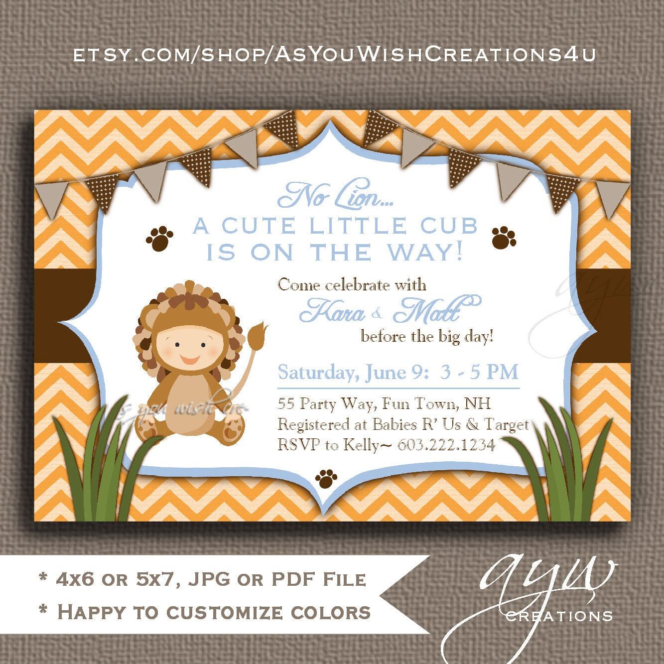 Lion Baby Shower Invitation Boy Invitation Unique Lion Shower