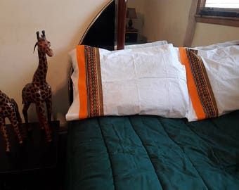 Orange and brown African Print Pillow Case