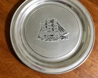 Vintage Pewter Wilton Tall Ship Plate