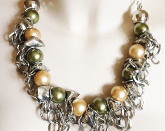 Necklace  - chunky white metal and pearls necklace