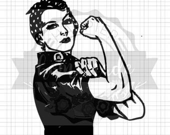 Instant Pot Decal - Rosie the Riveter - Black Vinyl