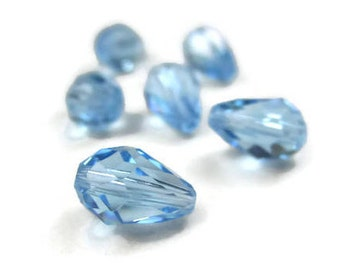 6 Swarovski Crystal Teardrop Beads Aquamarine Style 5500 9x6mm Center Drilled Light Blue