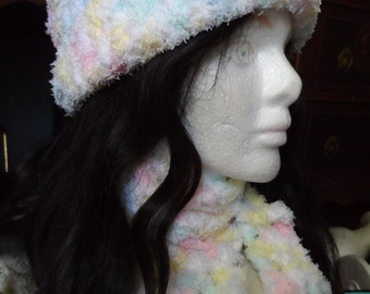 Pastel Yellow, Green, Pink, White Winter Crochet Hat and Scarf Set