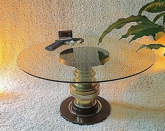 "14"" Steampunk Coffee Table, Elegant Brass/Steel Table, Plant Stand, Side Table, Steampunk Furniture, Man Cave Decor, Industrial Coffee Table"