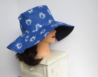 Ladies Sun Hat - Crab Print Sun Hat