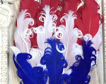 July 4th Feather Pads, 4th of July Nagorie Feather Pad, Patriotic Feather Pads, Hair Accessory, Wholesale Headband Supplies