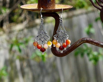 Carnelian Chandelier Earrings ~ Orange Red Stones ~ Bohemian Orange ~ Statement jewellery ~ Natural Stones ~ Mother's Day Gift ~ Boho Style