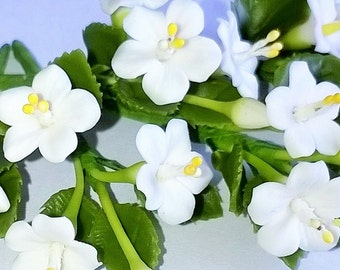 Miniature Polymer Clay Flowers Supplies for Dollhouse, White Hibiscus with leaves, 3 Bunches