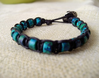 Black Leather and Turquoise Greek Pony Beads Macrame Bracelet
