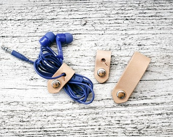 Leather Travel Cord Organizer SET OF THREE - Leather iPhone Lightning Charger Cord Keeper Holder Organizer