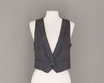 Short Gray Wool Elegant Vest
