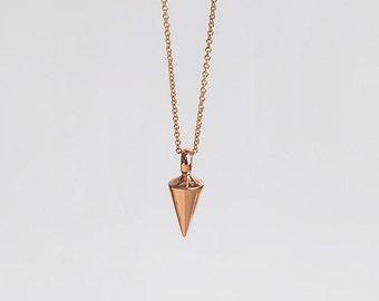 Rose 14k Gold Cone Pendant Pendulum Necklace, Dainty Spike Necklace Women, Plumb Pendant 14k Gold Rose Vertical Pendulum