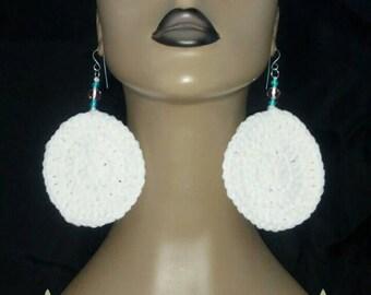 Crocheted Earrings, Womens Crocheted Earrings, White Crochet Earrings, Crochet Jewelry, Womens Earrings
