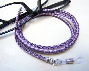 Purple Leather, Chain For Glasses, Sunglass Cord, Eyeglass Necklace For Her, by Eyewearglamour
