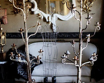 Pair 1800s Hand Forged Wrought Iron Floor Candelabras