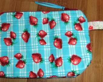 Zip Pouch - Phone Pouch - Cosmetic pouch - zip wallet -Strawberry fabric- turquoise