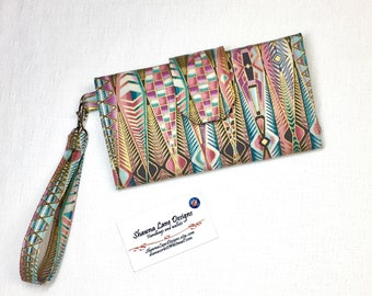 women's wallet, wristlet, trifold style wallet, colorful organizer wallet, checkbook, cell phone accessory, small purse, affordable gift