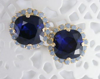 Blue crystal earrings,crystal earrings,blue wedding jewelry,something blue,blue bridal earrings,dark blue earrings,Swarovski,blue opal stud