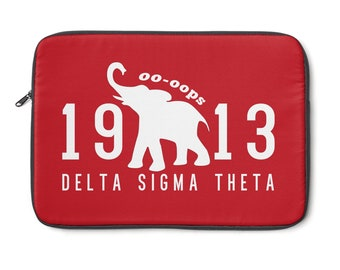 Delta Sigma Theta Laptop Sleeve  Red And White Laptop Case  Custom 1913 Delta Laptop Sleeve  Delta Paraphernalia  Delta Gifts
