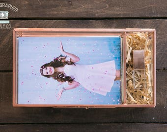 4x6 + USB Glass & Rose Gold Brass Proof Print Box Photographer Client Gift Flash Drive Delivery