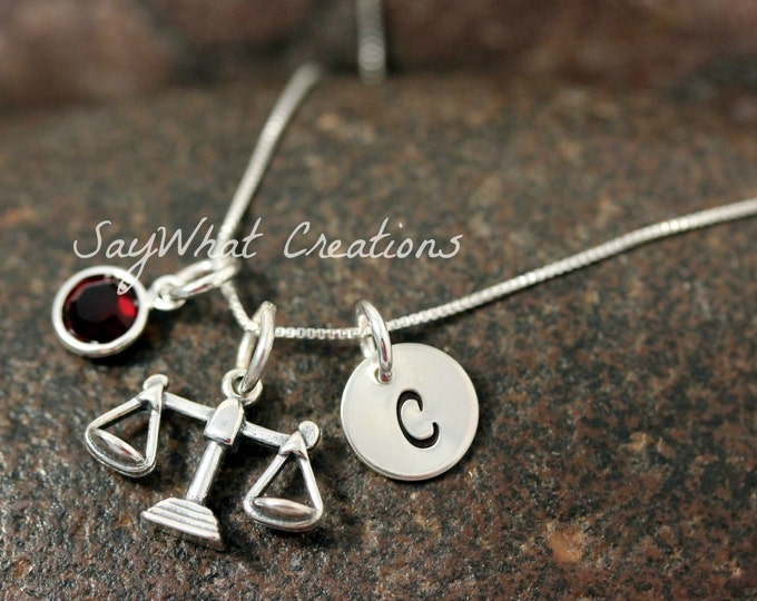 Hand Stamped Mini Initial Sterling Silver Scales of Justice Charm Necklace for Judge or Lawyer