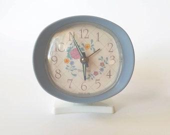 Vintage WestClox Periwinkle Wind-Up Bedside Alarm Clock