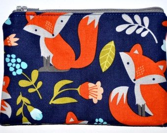 Foxes on Navy Coin Purse Zipper Pouch Card Holder Wallet ID Zippered Pouch Gift Idea