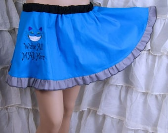 Cheshire Cat - We're All Mad Here - Embroidered Turquoise Blue Circle Skirt Adult ALL Sizes - MTCoffinz