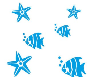 Stickers bathroom wall art form of fish and starfish