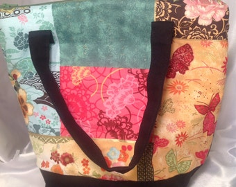 Kaylee inspired Asian Print  Insulated Zip-up Lunch bag