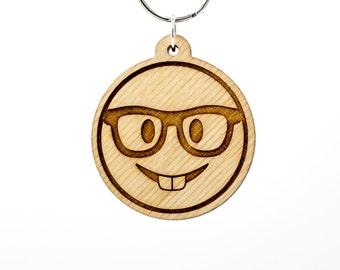 Nerd Face Emoji Wooden Keychain - Nerd with Glasses Emoji Carved Wood Key Ring - Buck Teeth Emoji - Nerd Emoji