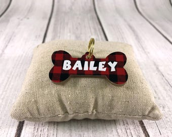 Acrylic Dog Bone Tag (Black and Red Buffalo Plaid)
