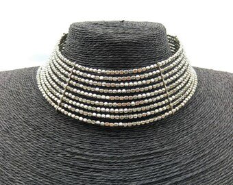 Handmade alpaca Necklace. Brass necklace. Silver Necklace