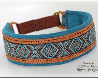 Dog collar MEDIVAL, Martingale, brown blue