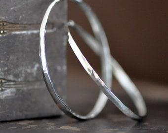 forward facing hoops, round forged sterling silver hoop earrings, endless, self locking, eco friendly