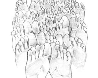 Original sketch drawing on random paper Forest of Feet by Michigan artist Dennis A!