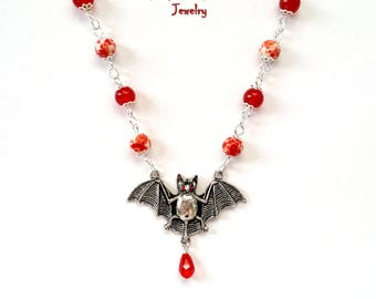 vampire bat beaded silver necklace