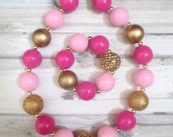 Pink Gold Toddler Necklace, Girl Necklace Set, Children Necklace, Girl Chunky Necklace, Baby Chunky Necklace, Girl Bracelet, Baby Bracelet