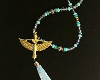 Ancient Egyptian Goddess Maat wiurh Celestial Turquoise color blue- Gold tone  and Silver tone beads.