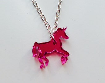 Unicorn | Horse | Pink | Mirrored | Laser Cut | Acrylic | Necklace