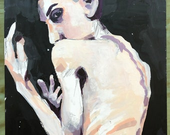 Egon Schiele inspired woman